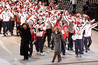 """n/z.: Pierwsza dama - Jolanta Kwasniewska i Katarzyna Frank - Niemczycka Olimpiady Specjalne Igrzyska Zimowe podczas ceremonii otwarcia w hali """" T Wave """" w Nagano. Japonia , Nagano , 26-02-2005 , fot.: Adam Nurkiewicz / mediasport..First Lady - Jolanta Kwasniewska and Katarzyna Frank - Niemczycka - Special Olympics Winter Games during opening ceremony at """" T Wave Hall """" in Nagano. February 26, 2005 , Japan , Nagano ( Photo by Adam Nurkiewicz / mediasport )"""