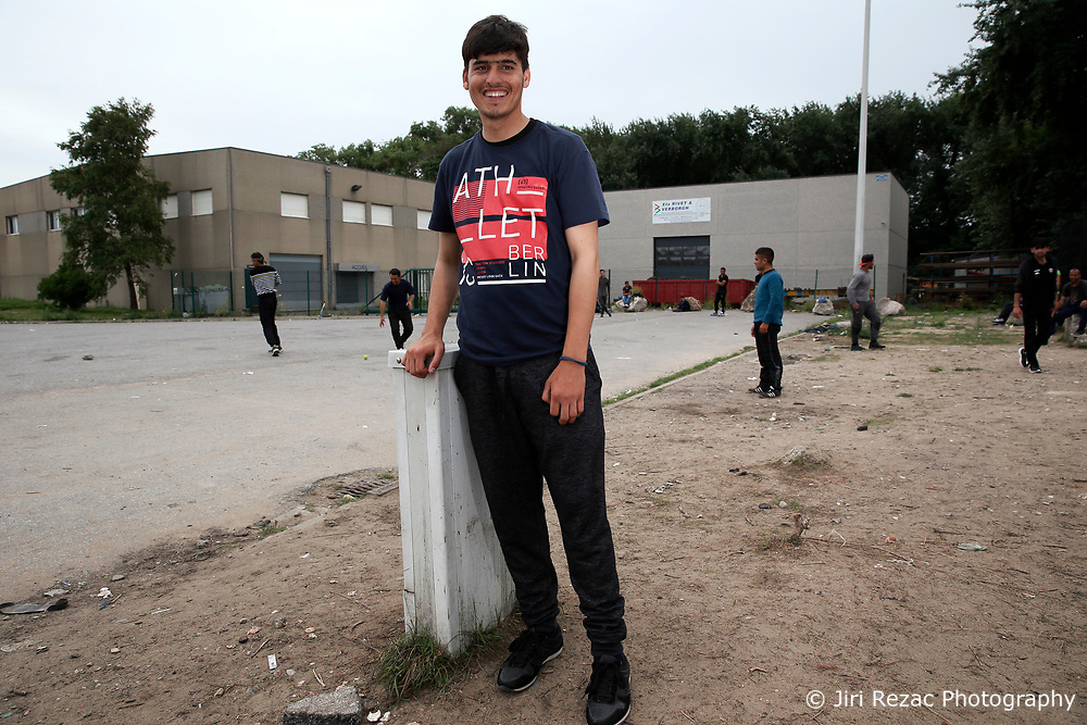 FRANCE CALAIS 2AUG17 - Rehan Barakzai, 16, from Kunduz, Afghanistan poses for a photo at an industrial estate in Calais, northern France.<br /> <br /> He has traveled to Europe for 9 months, including 3 months in a detention centre in Bulgaria where he was beaten by guards, a camp in Serbia for 2 months, and has arrived in Calais 1 month ago.<br /> <br /> jre/Photo by Jiri Rezac<br /> <br /> &copy; Jiri Rezac 2017
