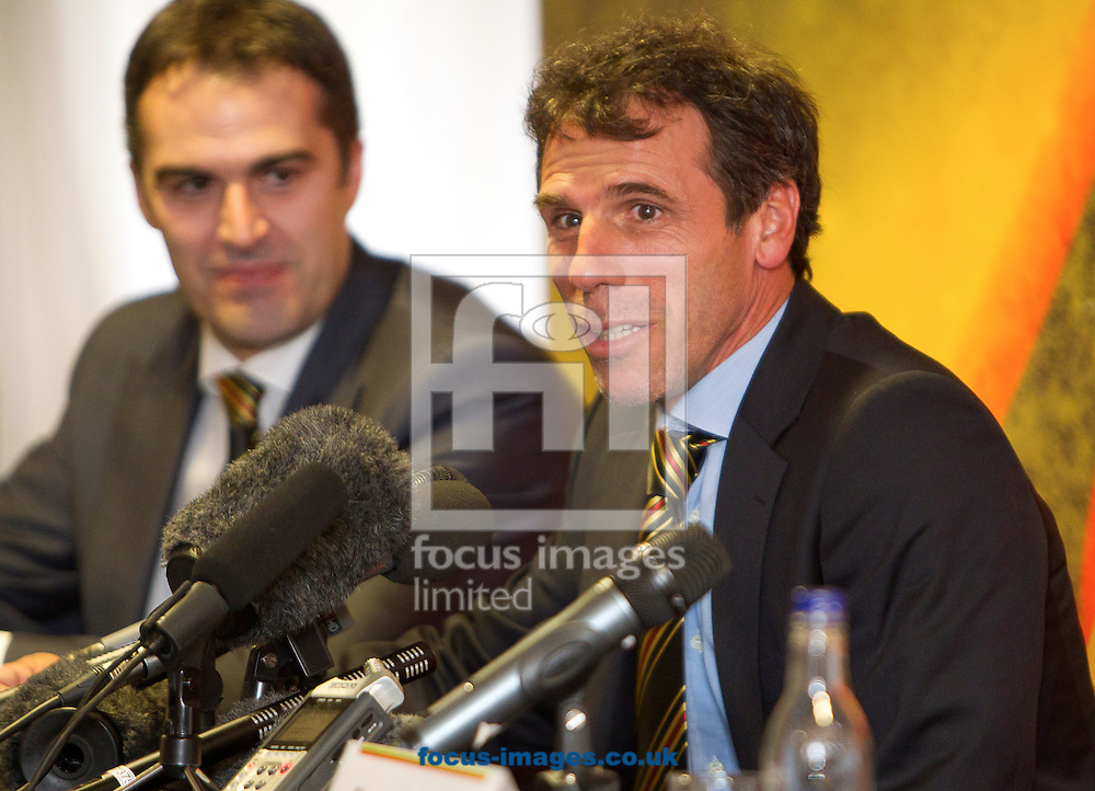 Picture by Paul Terry/Focus Images Ltd. 07545642257.10/07/12.Gianfranco Zola ( R ) pictured with Scott Duxbury, Chief Executive Officer  during a press conference at Vicarage Road, the home of Watford Football Club.