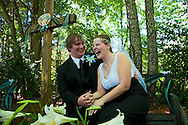 2012: Everyday Life. Josh and Jessica Etzel share a laugh following their wedding in Charlotte, NC, on Saturday, April 7, 2012. The couple have dated each other for eight years.<br />