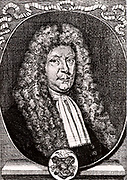 Olaus Borrichius or Ole or Olug Borch (1626-1690) Dutch chemist and alchemist.  Engraving from From 'Icones Virorum' by Friedrich Roth-Scholtz (Nuremberg, 1725).