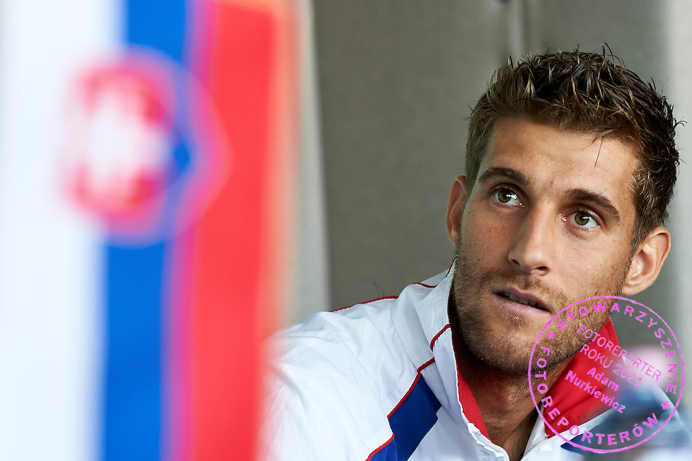 Martin Klizan of Slovakia listens question during official draw one day before Davis Cup Tie World Group Play-off Poland v Slovakia at Mondo di Vinegre Restaurant in Gdynia, Poland.<br /> <br /> Poland, Gdynia, September 17, 2015<br /> <br /> Picture also available in RAW (NEF) or TIFF format on special request.<br /> <br /> For editorial use only. Any commercial or promotional use requires permission.<br /> <br /> Adam Nurkiewicz declares that he has no rights to the image of people at the photographs of his authorship.<br /> <br /> Mandatory credit:<br /> Photo by &copy; Adam Nurkiewicz / Mediasport