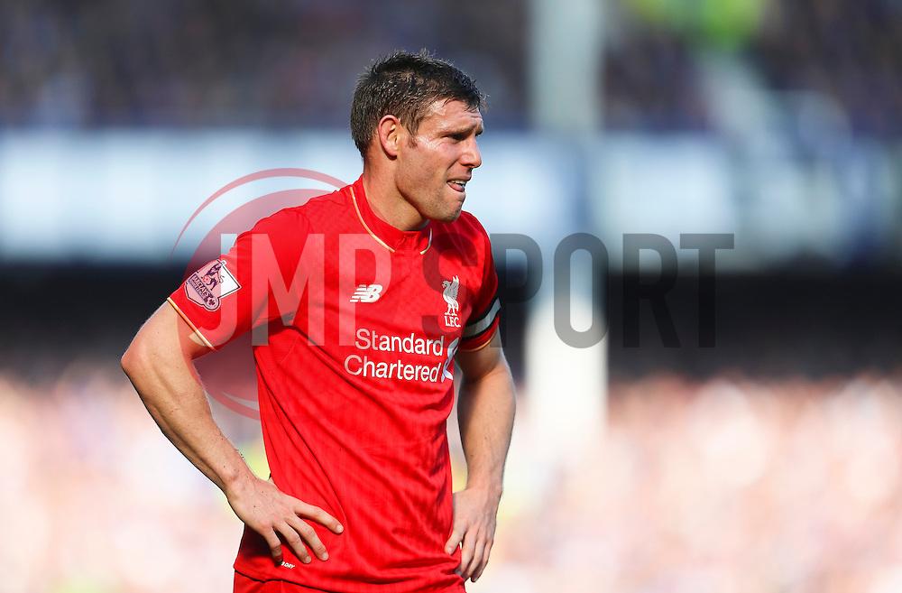 James Milner of Liverpool looks dejected - Mandatory byline: Matt McNulty/JMP - 07966 386802 - 04/10/2015 - FOOTBALL - Goodison Park - Liverpool, England - Everton  v Liverpool - Barclays Premier League