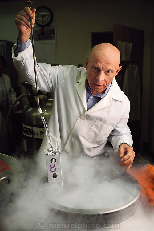 Biosphere 2 Project undertaken by Space Biosphere Ventures, a private ecological research firm funded by Edward P. Bass of Texas.  Biosphere candidate Roy Walford, former pathologist at UCLA Medical School with frozen tissue sample stored in liquid nitrogen, for aging studies. Shot here in Los Angeles with tissue sample from his dead father. Walford authored a book titled The Anti-Aging Plan. He died in 2004 at age 79 of ALS. Walford had been involved in the Project since 1983, and had set up the Biosphere's medical centre.  Biosphere 2 was a privately funded experiment, designed to investigate the way in which humans interact with a small self-sufficient ecological environment, and to look at possibilities for future planetary colonization.  MODEL RELEASED 1990