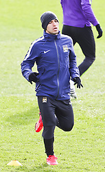 Sergio Aguero of Manchester City pictured during the training session at The Etihad Campus ahead of the UEFA Champions League clash with FC Barcelona - Photo mandatory by-line: Matt McNulty/JMP - Mobile: 07966 386802 - 23/02/2015 - SPORT - Football - Manchester - Etihad Stadium