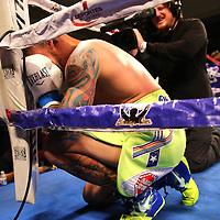 KISSIMMEE, FL - JULY 15: Orlando Cruz cries in the corner after his victory over Alejandro Valdez during a boxing match at the Kissimmee Civic Center on July 15, 2016 in Kissimmee, Florida. Cruz was the first professional boxer to announce himself as gay and recently lost four friends in the Pulse Nightclub shooting in Orlando, he dedicated this match to his lost friends and won the bout by TKO in the 7th round.  (Photo by Alex Menendez/Getty Images) *** Local Caption *** Orlando Cruz; Alejandro Valdez