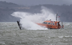© Licensed to London News Pictures. 13/01/2020. Portsmouth, UK. A pilot boat braves the conditions as Storm Brendan brings high waves and windy conditions off Portsmouth. Some parts of the UK are feeling the force of storm Brendan as it arrives from the Atlantic. Photo credit: Peter Macdiarmid/LNP