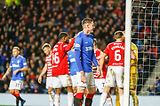 Kyle Lafferty of Rangers sees his effort cleared off the line  during the Ladbrokes Scottish Premiership match between Rangers and Hamilton Academical FC at Ibrox, Glasgow, Scotland on 16 December 2018.