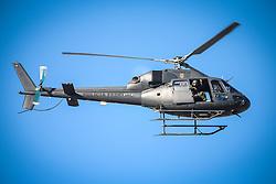 Helicóptero da Polícia Federal sobrevoa o treino de Brasil antes da partida contra o Colombia, válida pelas quartas de final da Copa do Mundo 2014, no Estádio Presidente Vargas, em Fortaleza-CE. FOTO: Jefferson Bernardes/ Agência Preview