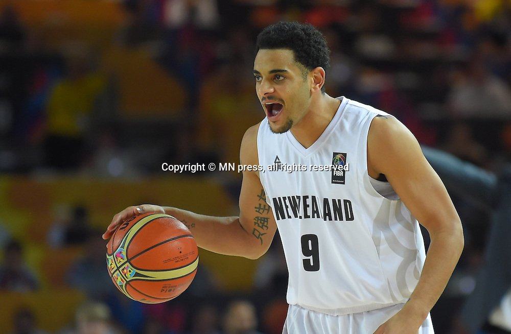 Corey Webster of New Zealand basketball team in action during FIBA World cup match against Turkey at Bizkaia arena, Bilbao Spain Foto: MN PRESS PHOTO<br /> Basketball, New Zealand, Turkey, FIBA World cup Spain 2014