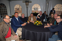 Ludo Philippaerts, (BEL) farewell from the sport together with his colleagues and old chef d'equipes Jean Paul Musette, Dirk Demeersman, Jos Lansink, Evelyne Blaton, and Philippe Lejeune and journalist Hugo Coorevits<br /> Stoeterij Dorperheide - Meeuwen Gruitrode  2015<br />  © Hippo Foto - Dirk Caremans<br /> 28/04/15