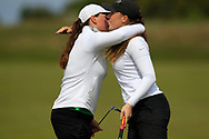 Lily May Humphreys (ENG) and Hazel MacGarvie (SCO) during the final round at the Irish Woman's Open Stroke Play Championship, Co. Louth Golf Club, Louth, Ireland. 12/05/2019.<br /> Picture Fran Caffrey / Golffile.ie<br /> <br /> All photo usage must carry mandatory copyright credit (© Golffile | Fran Caffrey)