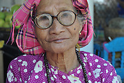 Myanmar, portrait of a mature indigenous woman