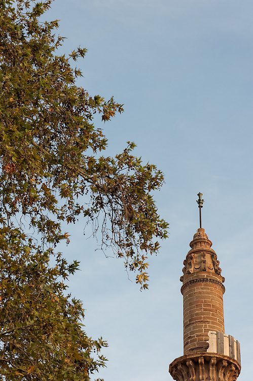 The minaret of the former Ottoman Medjidie Mosque in the town of Chios now housing the Byzantine Museum of the island.