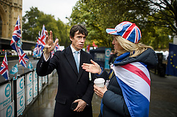 © Licensed to London News Pictures. 21/10/2019. London, UK. Candidate to be the next Mayor of London, RORY STEWART MP, is seen talking to members of the public in Westminster, London. Last week Parliament sat on a Saturday for the first time since 1982, but failed to vote on Boris Johnson's new Brexit deal. Photo credit: Ben Cawthra/LNP