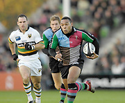 Twickenham. GREAT BRITAIN, Quins's, Jorden TURNER-HALL, running with the ball,  during the, Guinness Premiership game between, NEC Harlequins and Northamption Saints, on Sat., 04/11/2006, played at the Twickenham Stoop, England. Photo, Peter Spurrier/Intersport-images].....