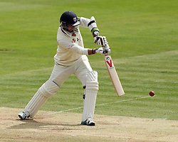 Durham's Chris Rushworth pushes at the ball - Photo mandatory by-line: Robbie Stephenson/JMP - Mobile: 07966 386802 - 04/05/2015 - SPORT - Football - London - Lords  - Middlesex CCC v Durham CCC - County Championship Division One