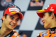 April 19-21, 2013- Dani Pedrosa (SPA), Repsol Honda Team laughs with teammate Marc Marquez (SPA), Repsol Honda Team