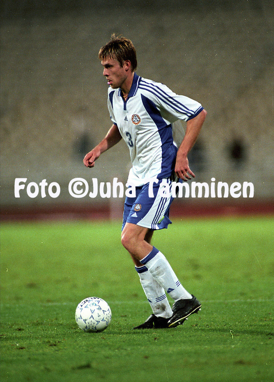 07.10.2000, Olympic Stadium, Athens, Greece. FIFA World Cup Qualifying match, Greece v Finland. .Juha Reini - Finland.©JUHA TAMMINEN