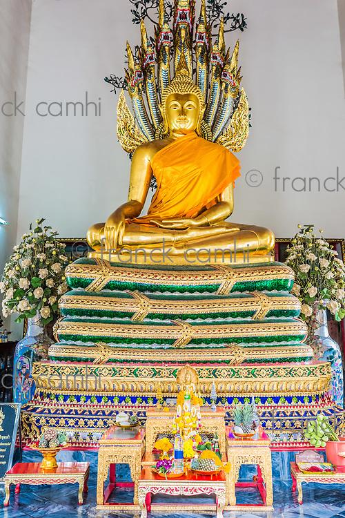 golden Buddha shrine Wat Pho temple Bangkok Thailand