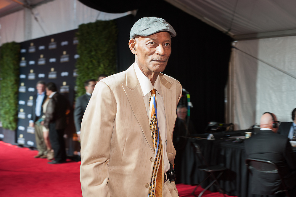 Willie Brown posing at  the Mahalia Jackson Theatre NFL Honors in New Orleans, Louisiana on Feb.2 2013.