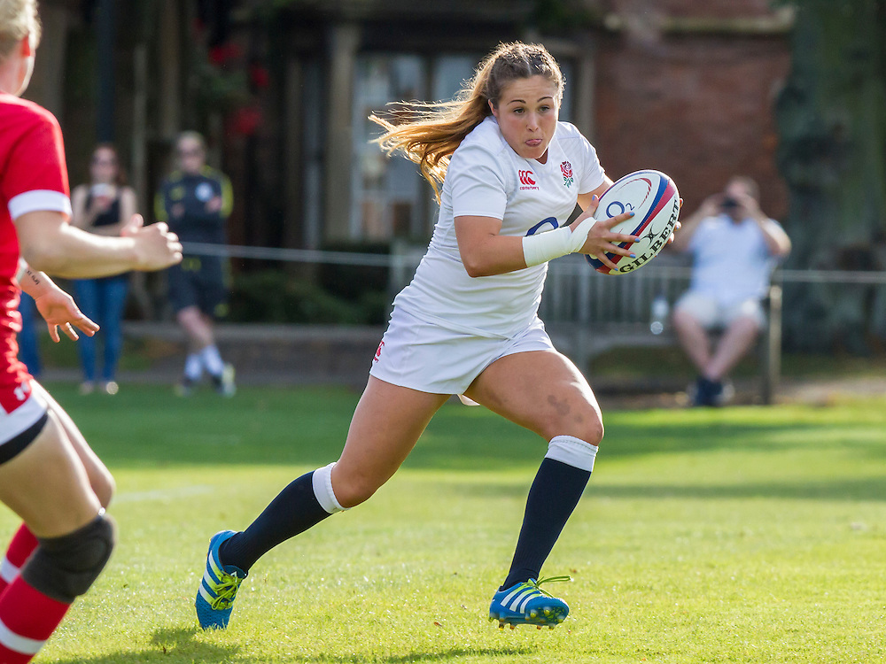 Sydney Gregson in action, U20 England Women v U20 Canada Women at Trent College, Derby Road, Long Eaton, England, on 26th August 2016