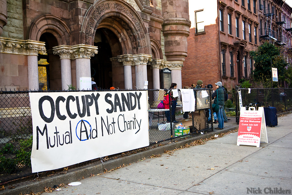 Church of St. Luke &amp; St. Matthew at 520 Clinton Ave.<br /> <br /> Hundreds of volunteers part of the &quot;Occupy Sandy&quot; relief effort are based out of the Church of St. Luke and St. Matthews in Clinton Hill, Brooklyn as they prepare food and donations to be shipped out to disaster areas devastated by Hurricane Sandy. Become a volunteer with &quot;Occupy Sandy&quot; HERE:<br /> <br /> http://interoccupy.net/occupysandy/