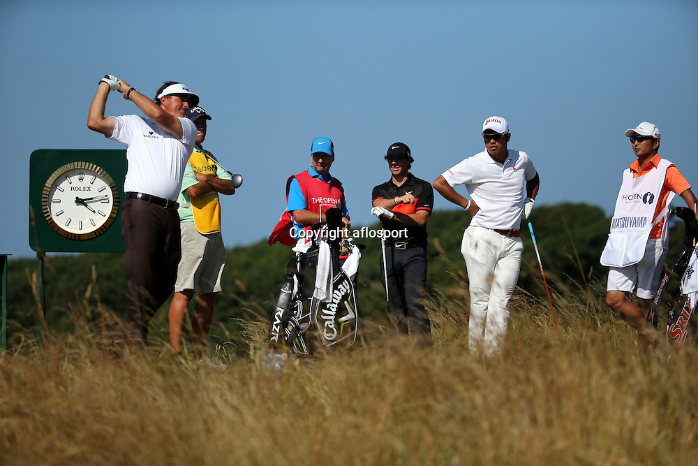 Phil Mickelson (USA), Rory McIlroy (NIR), Hideki Matsuyama (JPN),<br /> JULY 19, 2013 - Golf :<br /> Phil Mickelson of the United States in action on 5th hole during the second round of the <br /> 142nd British Open Championship at Muirfield in Gullane, East Lothian, Scotland.<br /> (Photo by Koji Aoki/AFLO SPORT) [0008]