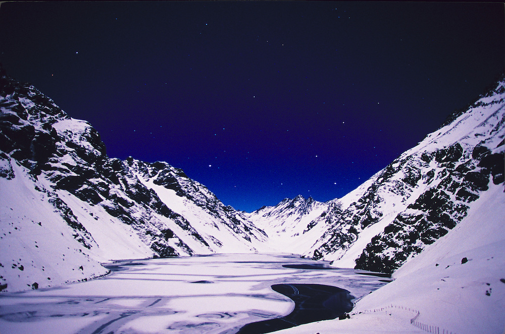 Laguna del Inca at night. Portillo Ski Resort, Chile