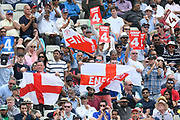 England fans wave flags during the ICC Cricket World Cup 2019 semi final match between Australia and England at Edgbaston, Birmingham, United Kingdom on 11 July 2019.