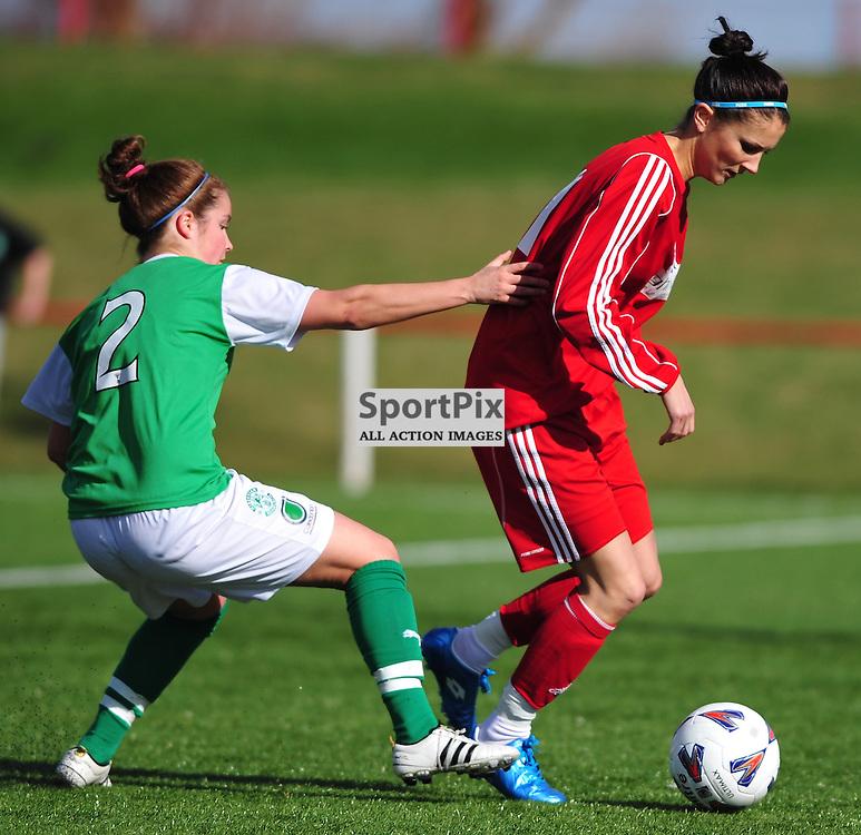 Emma Brownlie (Hibs, left) challenges Natalie Bodiam.Hibernian v Inverness City, Scottish Women's Premier League, 18 March 2012