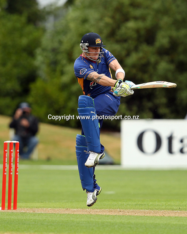 Brendon McCullum pulls the ball through mid-wicket.<br /> Twenty20 Cricket - HRV Cup, Otago Volts v Canterbury Wizards, 13 January 2012, University Oval, Dunedin, New Zealand.<br /> Photo: Rob Jefferies/PHOTOSPORT