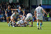 Bath Kahn Fotuali'I  Scrum Half (9) passing towards the backs first half during the Aviva Premiership match between Worcester Warriors and Bath Rugby at Sixways Stadium, Worcester, United Kingdom on 15 April 2017. Photo by Gary Learmonth.