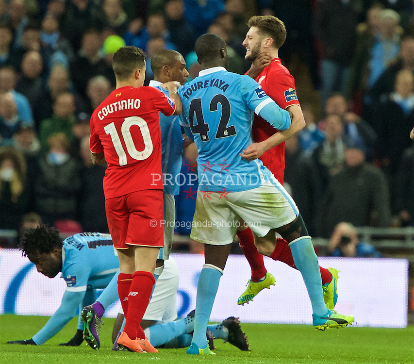 LONDON, ENGLAND - Sunday, February 28, 2016: Liverpool's Adam Lallana and Manchester City's Fernando Francisco Rege clash during the Football League Cup Final match at Wembley Stadium. (Pic by David Rawcliffe/Propaganda)