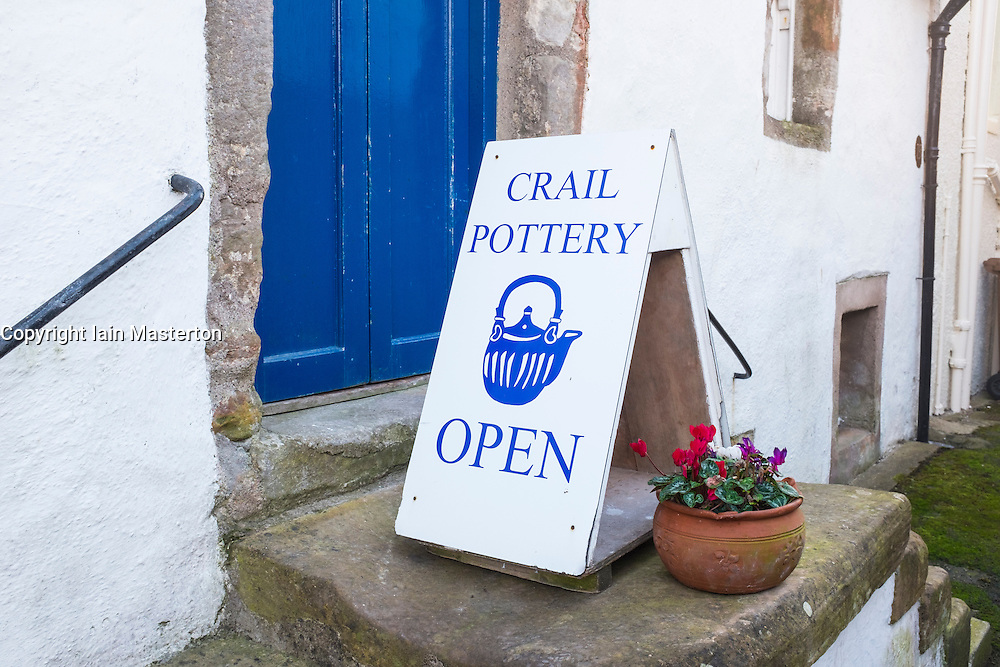 Pottery shop sign in Crail on East Neuk of Fife in Scotland, United Kingdom