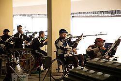 October 12, 2018 - Jakarta, Jakarta, Indonesia - Jakarta, Indonesia, 12 October 2018 :  Participants of the 50M 3 positions shooting competition. Para Asian Games shooting competition at Gelora Bung Karno sports center-Jakarta. (Credit Image: © Donal Husni/ZUMA Wire)