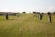 Standing stones in the Neolithic stone avenue,  Avebury, Wiltshire, England
