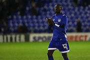 Goal scorer Freddie Ladapo of Oldham Athletic applauds the fans at the end of the EFL Sky Bet League 1 match between Oldham Athletic and Scunthorpe United at Boundary Park, Oldham, England on 18 October 2016. Photo by Simon Brady.