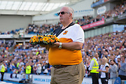 A Wreath from Hull City in tribute to the Shoreham disaster during the Sky Bet Championship match between Brighton and Hove Albion and Hull City at the American Express Community Stadium, Brighton and Hove, England on 12 September 2015. Photo by Phil Duncan.