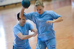 Maja Breznik and Neza Mitrusevska at practice of Slovenian Handball Women National Team, on June 3, 2009, in Arena Kodeljevo, Ljubljana, Slovenia. (Photo by Vid Ponikvar / Sportida)
