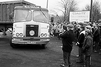 Applause for a lorry driver who won't cross the picket line during the 1984 miners strike, Grimethorpe. March 1984