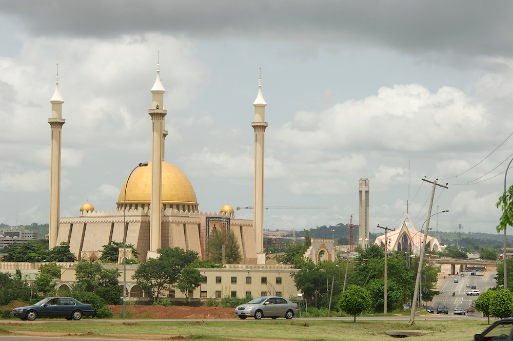 Abuja with National Mosque and Cathedral in the distance