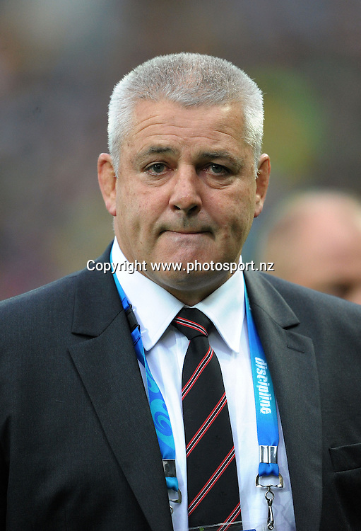 Wales coach Warren Gatland during the Ireland versus Wales quarterfinal match of the 2011 IRB Rugby World Cup at Wellington Regional Stadium, Wellington, New Zealand on Saturday, 8 October 2011. Photo: Dave Lintott / photosport.co.nz