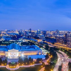 Chicago's Shedd Aquarium and One Museum Park highrise tower panoramic photo.
