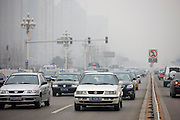 Traffic on Beijing main street, Chang An Avenue, China
