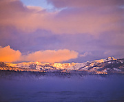 Lake Tahoe Scenic Sunrise over misty Waters