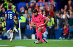 LONDON, ENGLAND - Saturday, September 29, 2018: Liverpool's goalkeeper Alisson Becker looks dejected as Chelsea score the opening goal during the FA Premier League match between Chelsea FC and Liverpool FC at Stamford Bridge. (Pic by David Rawcliffe/Propaganda)