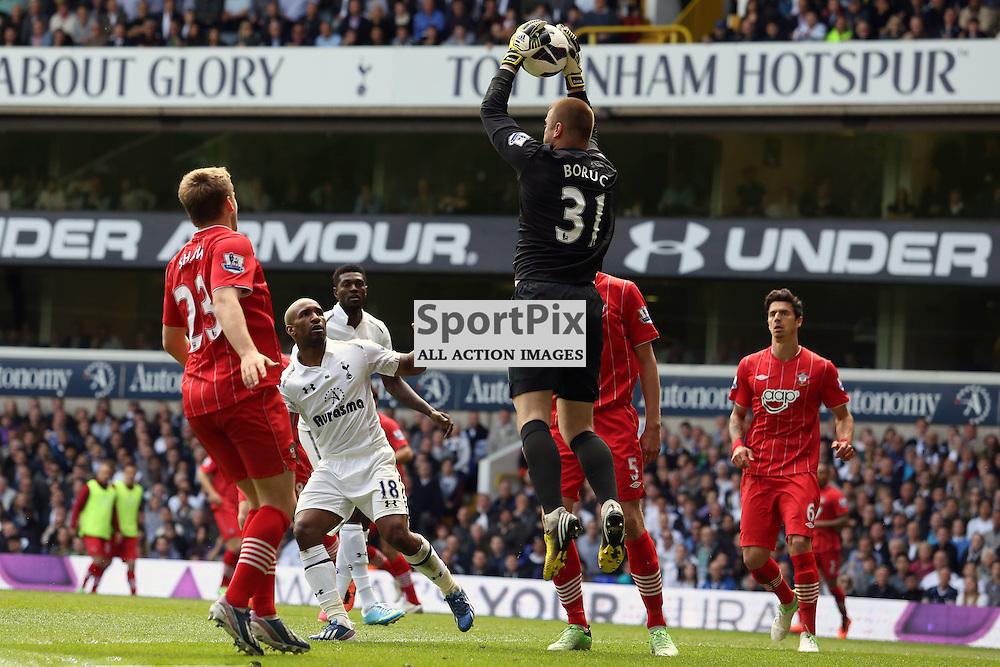 Southampton's Artur Boruc leaps for save. Tottenham v Southampton Premiership 04 May 2013. (c) Andy Smith / Stockpix.eu.