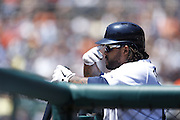 DETROIT, MI - JUNE 19: Prince Fielder of the Detroit Tigers watches the Baltimore Orioles pitcher before batting during the game at Comerica Park on June 19, 2013 in Detroit, Michigan. Orioles won 13-3. (Photo by Joe Robbins)