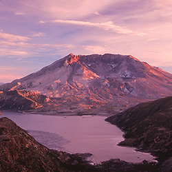 Mt. St. Helens and Spirit Lake at Dusk from the Mt. Margaret Backcountry, Mt. St. Helens National Volcanic Monument, Washington, US